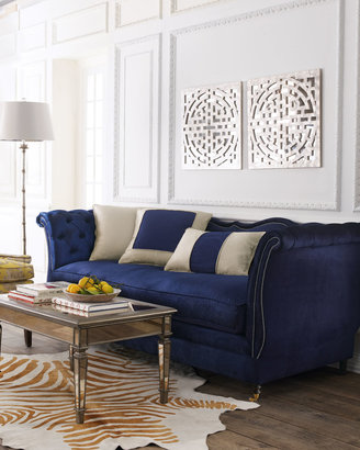 """Haute House Horton Navy Velvet Tufted Sofa 90"""""""
