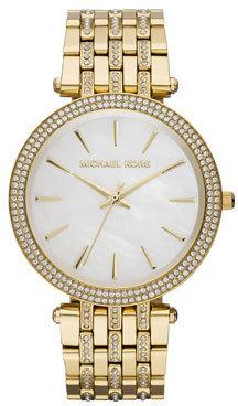 Michael Kors Mid-Size Golden Stainless Steel Darci Three-Hand Glitz Watch