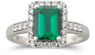 JCPenney FINE JEWELRY Sterling Silver Lab-Created Emerald & White Sapphire Ring