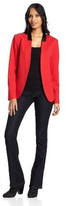 Chaus Women's Ponte Faux Leather Trim Blazer