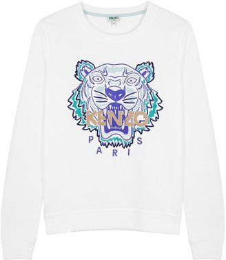 Kenzo White Tiger-embroidered Cotton Sweatshirt