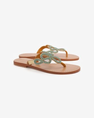 Mystique Flat Sandals With Turquoise Embellishments