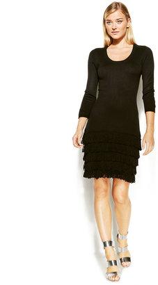 Calvin Klein Three-Quarter-Sleeve Fringe-Paneled Sweater Dress Web ID: 1101192