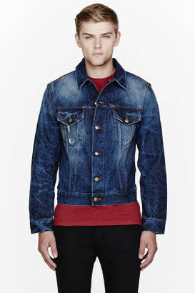 McQ Red plaid wool & denim jacket