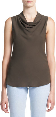 Theory Cowl-Neck Sleeveless Silk Top