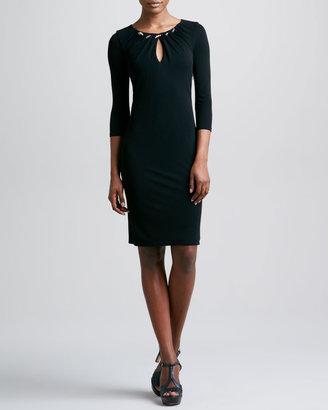 Roberto Cavalli Three-Quarter-Sleeve Keyhole Dress, Black