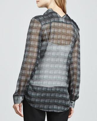 Theyskens' Theory Printed Sheer Silk Blouse