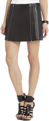 BCBGMAXAZRIA Myra Double-Zipped Leather Skirt
