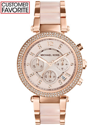 Michael Kors Women's Chronograph Parker Blush and Rose Gold-Tone Stainless Steel Bracelet Watch 39mm MK5896 $295 thestylecure.com