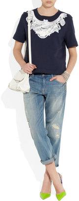 Emma Cook Satin-appliquéd cotton-jersey top