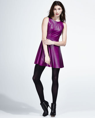 Neiman Marcus Fit-and-Flare Leather Dress, Purple