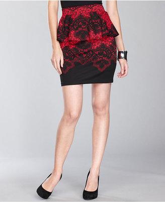 INC International Concepts Petite Skirt, Lace-Print Peplum