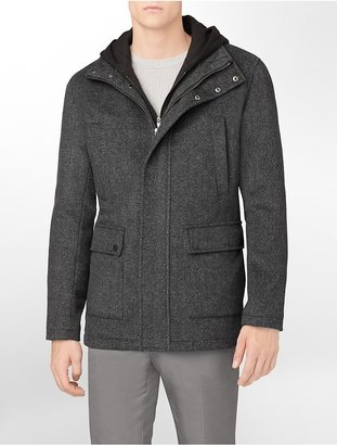 Calvin Klein Hooded Melton Layered Colorblock Coat