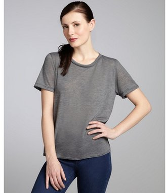 LnA grey and black jersey lace back short sleeve t-shirt