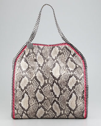 Stella McCartney Falabella Large Snake-Print Tote Bag, Gray