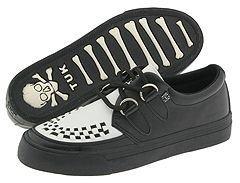 T.U.K. A6092 (Black/White Leather) - Footwear