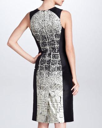 Carolina Herrera Crocodile-Degrade-Jacquard Dress, Black/Metallic