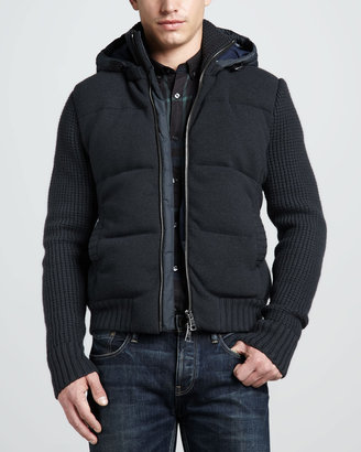 Burberry Hooded Knit Puffer Jacket