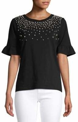 Karl Lagerfeld Paris Embellished Bell-Sleeve Top