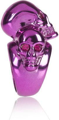 Alexander McQueen Swarovski crystal-embellished skull ring