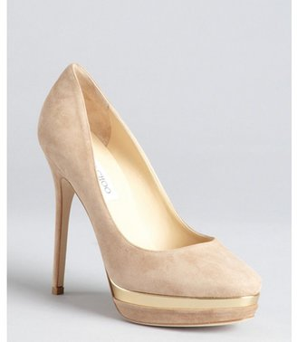 Jimmy Choo taupe suede and gold lacquered platform 'Brulee' pumps