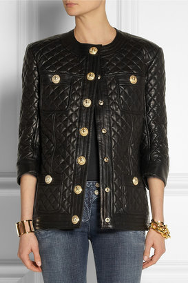 Balmain Collarless quilted leather jacket