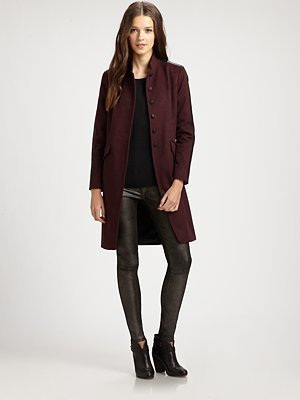 Rag and Bone Rag & Bone Maharaja Leather-Trim Wool Coat
