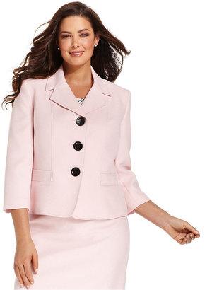 Kasper Plus Size Jacket, Three-Quarter-Sleeve Textured Blazer