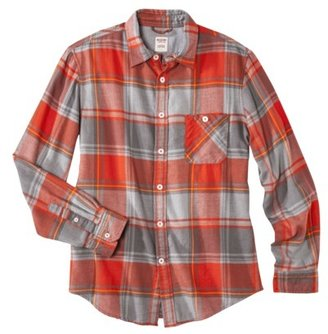 Mossimo Men's Long Sleeve Flannel - Red/Gray Plaid