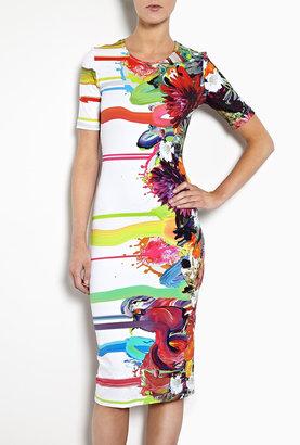 Preen Kay Floral Paintdrip Printed Jersey T-shirt Dress