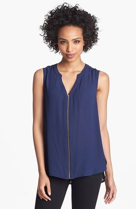 Pleione Front Zip Lace Inset Top
