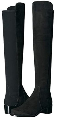 Stuart Weitzman Reserve Knee High Boot (Black Suede/Stretch Gabardine) Women's Dress Pull-on Boots
