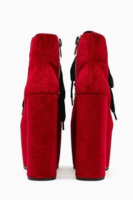 Nasty Gal UNIF Hellbound Platform Boot - Red Velvet