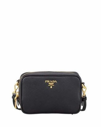 Prada Saffiano Mini Zip Crossbody Bag, Black (Nero) $650 thestylecure.com
