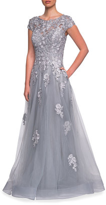 La Femme Floral Lace & Tulle Ball Gown