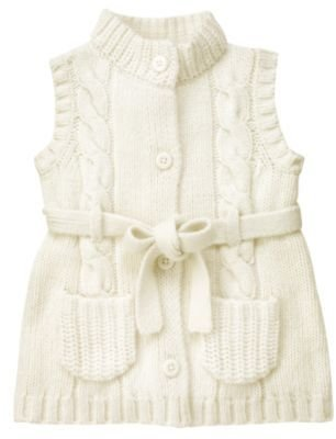 Janie and Jack Belted Cable Sweater Vest