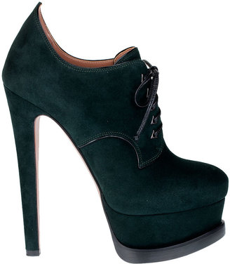 Alaia Bottle green suede lace-up bootie