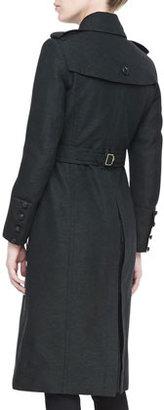 Burberry Long Wool-Blend Twill Coat, Dark Olive