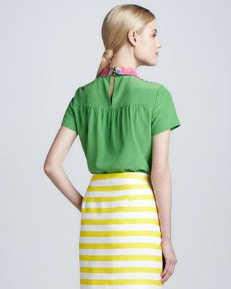 Kate Spade Tessa Floral-Collar Silk Top