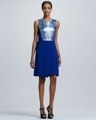 Rachel Roy Holographic Leather-Top Dress