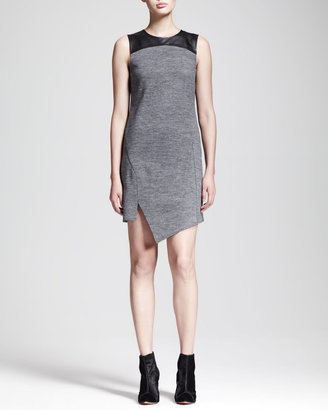 Derek Lam 10 Crosby Asymmetric Leather-Yoke Dress