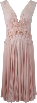 J. Mendel V-Neck Tulle Pleated Dress with Flowers
