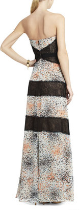 BCBGMAXAZRIA Print and Lace-Blocked Strapless Dress