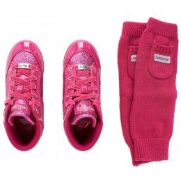 Lelli Kelly Kids Pink Glitter Sneakers with Cuffs