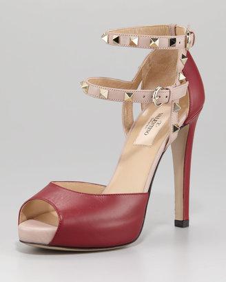 Valentino Rockstud Ankle-Strap Sandal