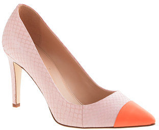 J.Crew Everly cap toe snakeskin pumps