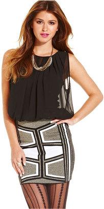 XOXO Sleeveless Metallic Knit Blouson Dress