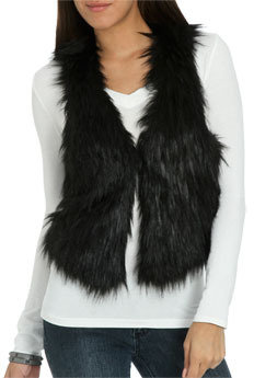 Wet Seal WetSeal Faux Fur Vest Black