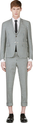 Thom Browne Green & Blue Gingham Check Suit