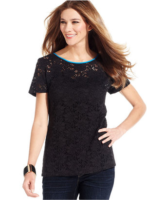 Style&Co. Petite Top, Short-Sleeve Lace Tee